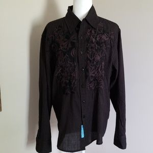 Roar Mens Western wear long sleeve shirt, size L